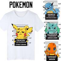 Pokemon Pikachu T-Shirt Bulbasaur Squirtle Charmander Summer Short Sleeve HQ