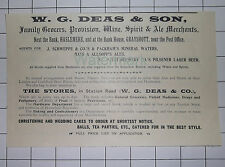 Haslemere Grayshott W G DEAS & SON Family Grocers Vintage Advert Clipping