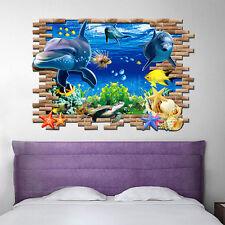Dolphin 3D Mural Removable Wall Sticker Art Vinyl Decal Room Decor Kids DIY
