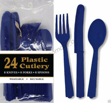 24pc Navy Blue Plastic Cutlery Knives Forks Spoons Frozen Birthday Party Utensil