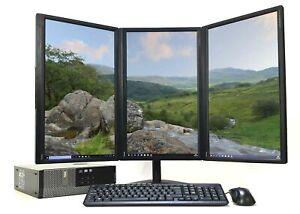 Office PC Computer Set Desktop + Triple Monitor + Stand i7-4770 SSD Win 10 Wifi