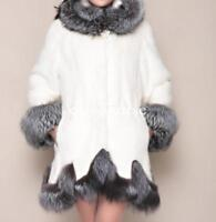 womens big fox fur collar mink fur thicken coat hooded parka overcoat outwear