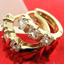 HOOP HUGGIE EARRINGS REAL 18K ROSE G/F GOLD DIAMOND SIMULATED DESIGN FS3AN478