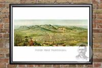 Vintage Pikes Peak, CO Map 1890 - Historic Colorado Art Old Victorian Industrial