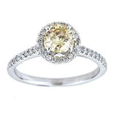 Certified 0.79 Carat H VS2 Round Brillant Halo Diamond Ring 14K W Gold Enhanced