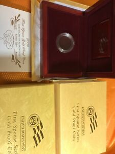 2009-W Proof $10 Gold Letitia Tyler First Spouse Box OGP (x-32) & COA NO Coins