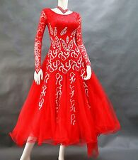Ballroom Competition Dance Dress Red Lace RhineStone Skirts Waltz American Gown