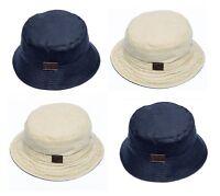 Men's Cotton Reversible Bucket / Fisherman / Sun / Bush Hat in Stone or Navy