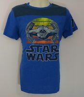 Star Wars TIE Fighter Retro Sunset Graphic Mens Blue T-Shirt New NWOT