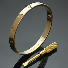CARTIER Love 18k Yellow Gold Bangle Bracelet Size 18