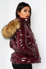 LADIES WINTER PUFFER JACKETS SHINY FINISH IN BURGUNDY RED THICK FAUX FUR TRIM