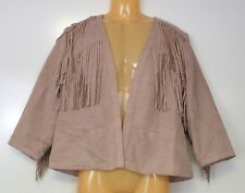 Chico's Jacket Faux Fringe Fergie Navajo Pink Size 1 Small S Jacket Women's NWT