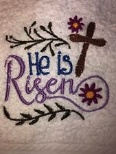 Embroidered White Bathroom Hand Towel- Easter- He is Risen- Jesus Hs1268