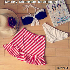 Navy & White with Red/White Striped Ruffled Skirt 3 Piece Swimsuit Set - 3PC504