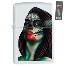 Zippo 29400 Day of the Dead Woman White Matte Full Size Lighter + FLINT PACK