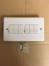Light Switch 6 Gang  2 Way White Plastic 10A Wall Switch