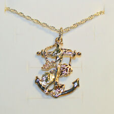 Black Hills Gold Nautical Anchor Pendant Necklace 14k 3-Tone Gold over 925 SS