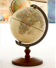 "5"" Vintage Antique Desktop Table Decorative Wood Globe Earth World Map Globe"