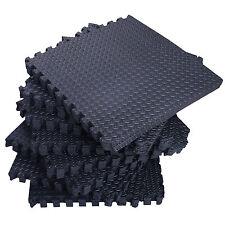 DIY 96 SqFt Steel EVA Black Foam Floor Mat Interlocking Tile Exercise Gym 24pc