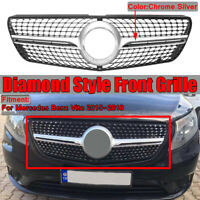 Diamond Look Front Bumper Grille Grill Silver For Mercedes Benz Vito 2015-2018
