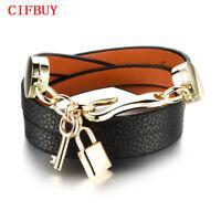CIFBUY New Handmade Woman Wrap Bracelet Leather Stainless Steel Lock Key Pendant