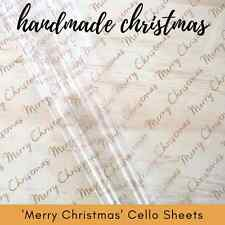 20 sheets 'MERRY CHRISTMAS' CELLO SHEETS - 50 x 70cm Packing Wrapping Packaging
