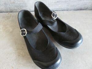DANSKO Vegan Black Canvas Shoes Heels Ankle Strap Rubber Toe US 8 - 8.5 EU 38