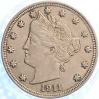 1911 LIBERTY NICKEL, LIGHTLY CIRCULATED, ORIGINAL SURFACES, NICE!!
