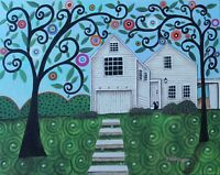 Farmhouse, Casco Bay, ME 16 x 20 ORIGINAL CANVAS PAINTING FOLK Art Karla Gerard