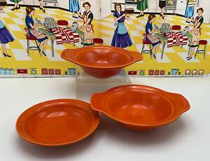 California Pottery Vernon Kilns Pottery Lug Chowder Soup Bowls & Fruit Bowl Red