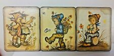 Vintage German Boy Girl Wood Print Plaque Evans Poppy Flowers Can Cat Kitty Log