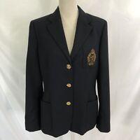 Lauren Ralph Lauren Crest Equestrian Wool Jacket Blazer Size 10