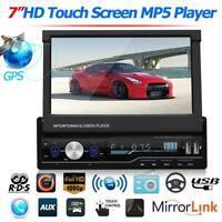 "1DIN 7"" Autoradio mit GPS Navi Bluetooth Touchscreen MP3 MP5 USB FM AM AUX RDS"