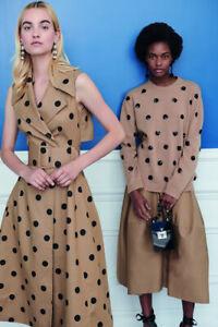 OSCAR DE LA RENTA Designer Beige Black Polka Dot Silk Canvas Belt Sz L NWT