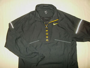 NIKE LIVESTRONG 1/2 ZIP BLACK REFLECTIVE WINDBREAKER JACKET MENS LARGE EXCELLENT