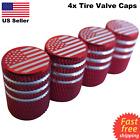 4x Wheel Tire Valve Cap Stem Cover For Car Bike Trucks American Flag Red