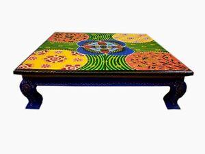Quadratisch Holz Bajot Handgefertigt Chowki Geprägt Bemalt Pooja Tisch Dekor