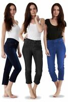 Ladies Denim Crop Trousers Cropped Stretch 3/4 Summer Pockets Capri Pants