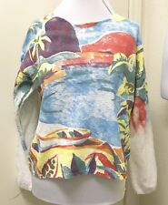 Michael Leu Womens Multi-Color Painted Lagoon Wearable Art Sweater One Size NWOT