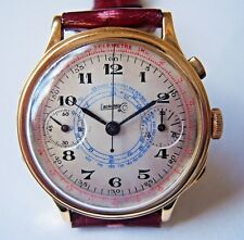 Eberhard chronograph 18K solid gold pre Extra-Fort cal.1600 39mm 1940's working