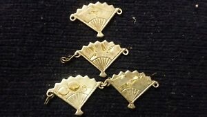 Silver with, gold inlays!, hand carved japanese brooch fans, antique jewelry
