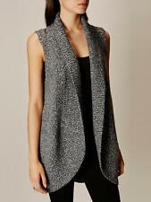 Karen Millen Wool/ Alpaca Chunky  Knit Tweed Waistcoat/ Vest Dark Grey Size XS