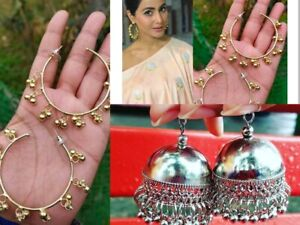 2 Pairs Indian Combo Oxidized Silver Gold Earring Jewelry Bollywood Afgani Pair