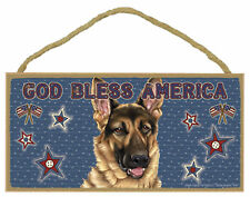 German Shepherd God Bless America Patriotic Wood Dog Sign Plaque Made in USA