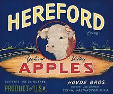 "RARE OLD ORIGINAL 1940'S BEEF CATTLE ""HEREFORD BRAND"" BOX LABEL SELAH WASHINGTON"