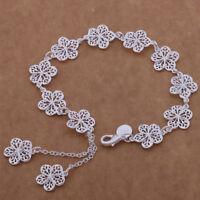925 noble silver fashion cute women classic FLOWER Bracelet Jewelry