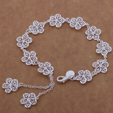 New hot noble silver fashion cute women classic FLOWER Bracelet Jewelry AB121