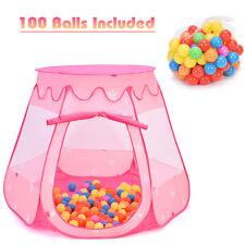 Kid Outdoor Indoor Princess Play Tent Playhouse Ball Tent Toddler Toys w/ Balls