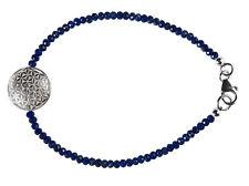 Armband Armkette Blume des Lebens 925 Sterlingsilber Silberperlen 20 cm variabel
