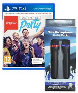Singstar PS4 + 2 Wired Microphones Mics + Adaptor - MINT - Same Day Dispatch